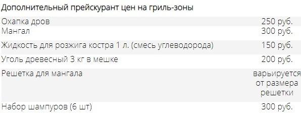 Дополнительный прейскурант цен на гриль-зоны на горячих источниках Березовка